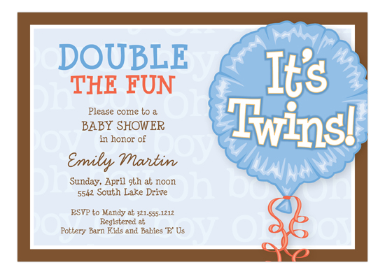Its Twins Blue Invitation