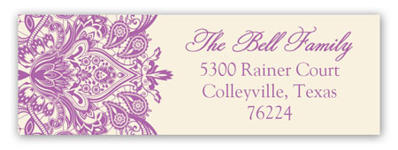 Ivory And Radiant Orchid Lace Address Label