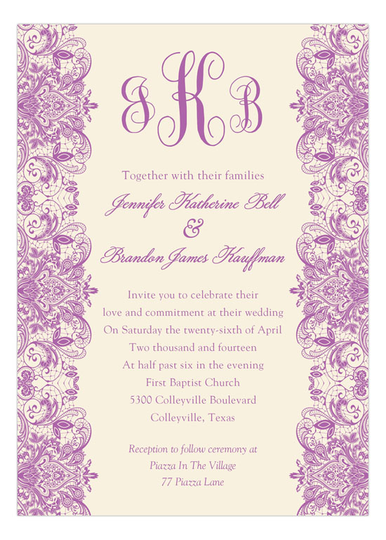 Ivory and radiant orchid lace quinceanera invitation ivory and radiant orchid lace quinceanera stopboris Images