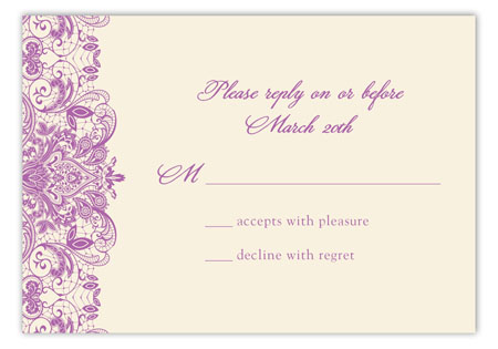 Ivory And Radiant Orchid Lace Reply Card