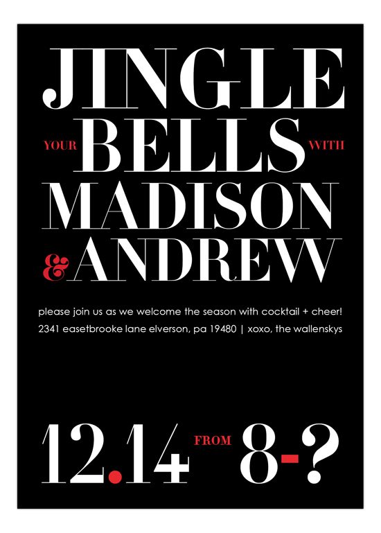 Jingle Your Bells B+W Invitation