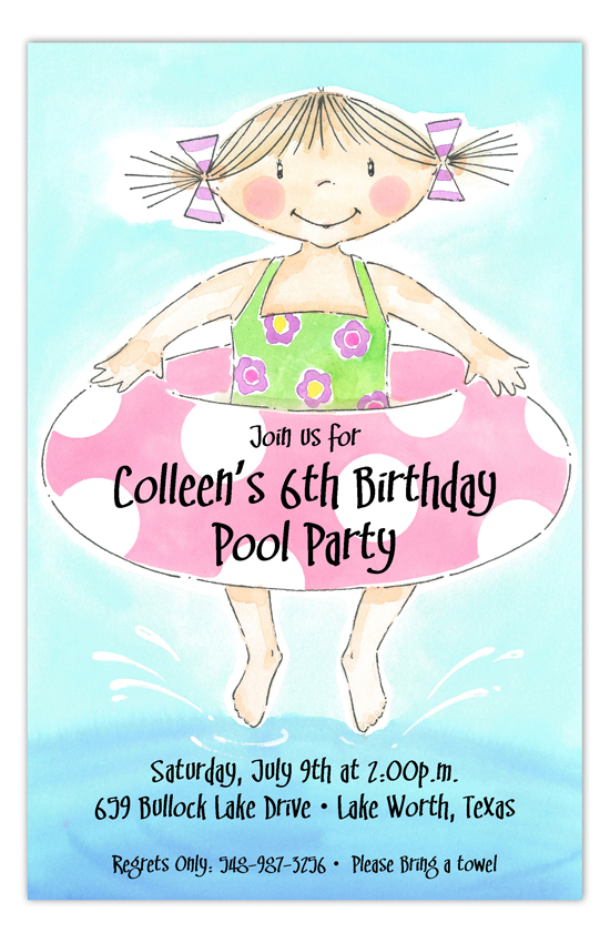 Jump In Girl Swim Party Invitation