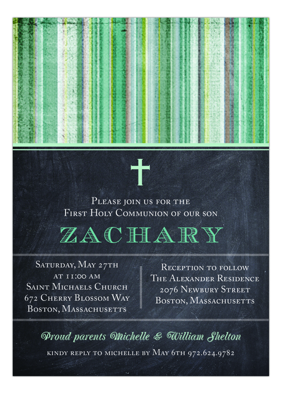 Chalkboard and Green Stripe 1st Communion