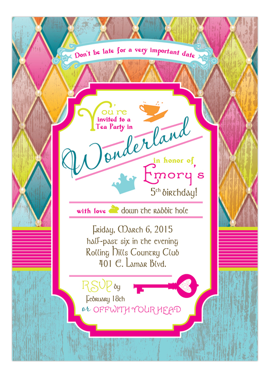 Bright Harlequin Mad Tea Party Invitation