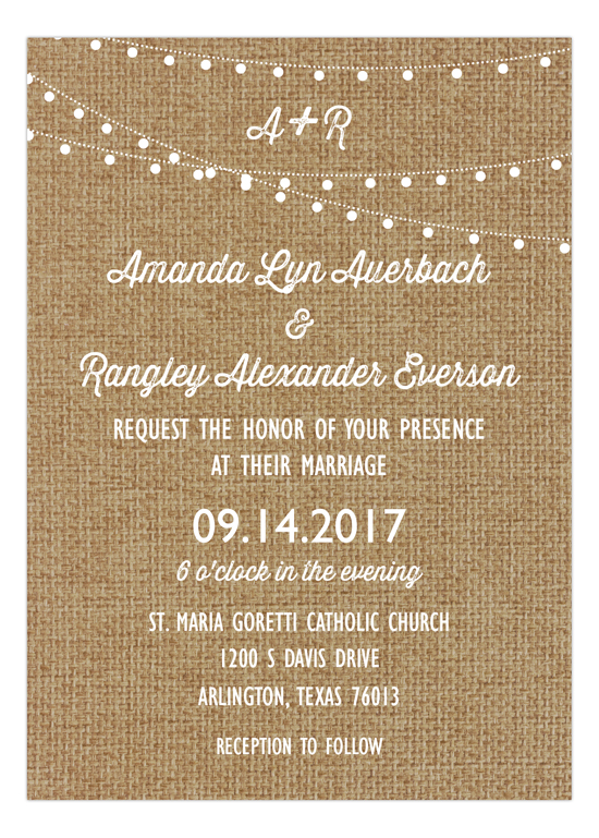Burlap Rustic Swag Light Party Invitation