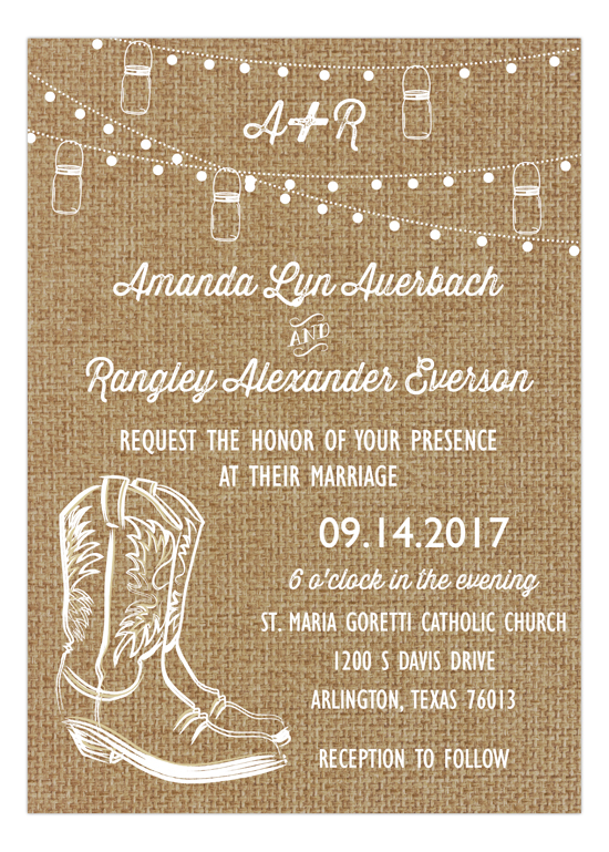 Burlap Rustic Boot and Swag Light Party Invitation
