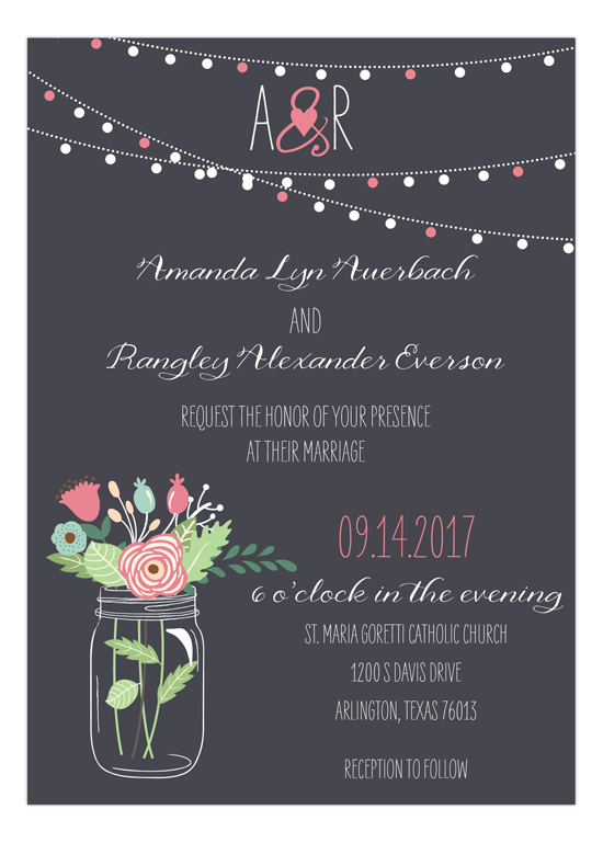 Mason Jar Invitation in Pink, Mint and Aqua