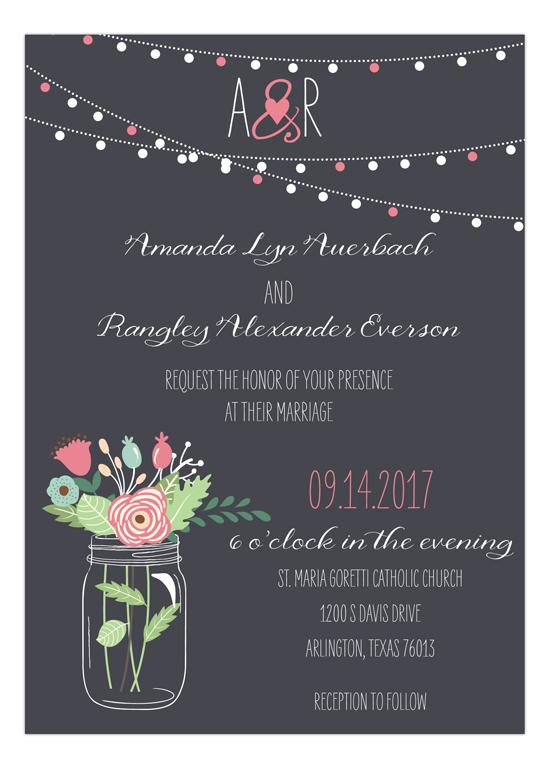 Mason Jar Invitation in Pink, Mint and Aqua