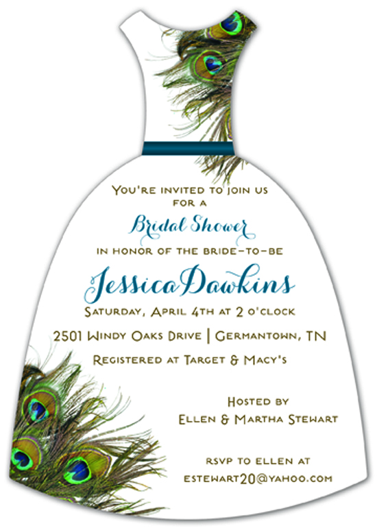Peacock Dress Wedding Invitation