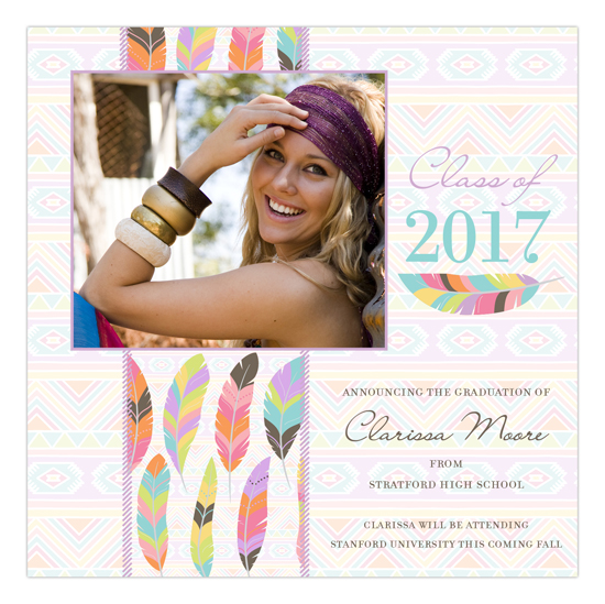 Tribal Band of Feathers Boho High School Graduation Announcements