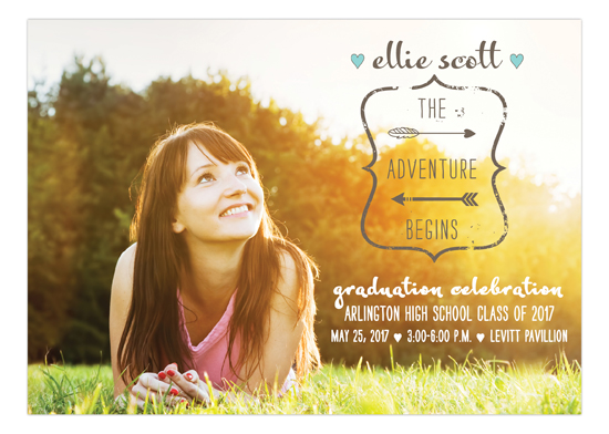 Pastel Tribal Feather Graduation Announcement Photo Card