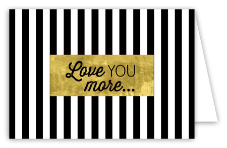 Black Stripes with Gold Folded Note Card