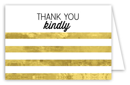 Gold Striped Folded Note Card