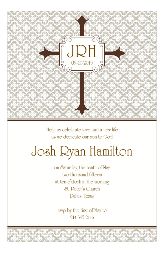 Khaki Cross Baptism Invitations for Boys