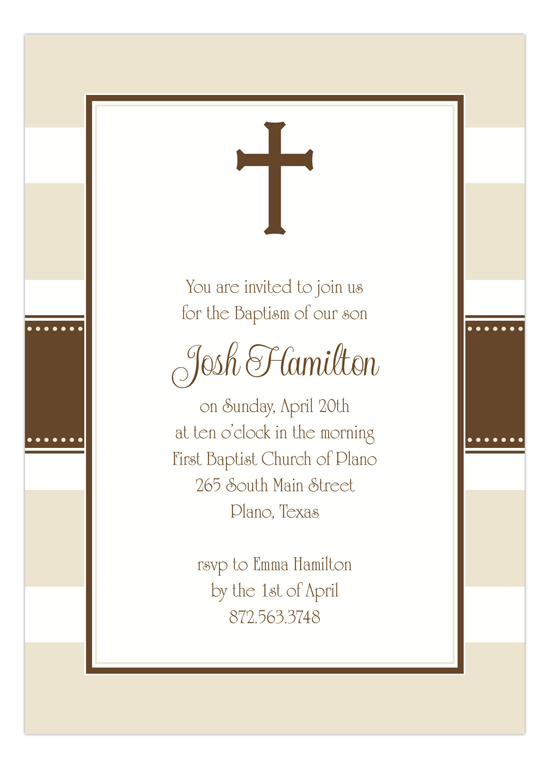 Khaki Stripe Cross Boy Baptism Invitations