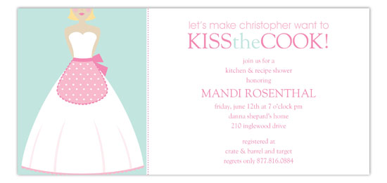 Kiss the Blond Cook Invitation