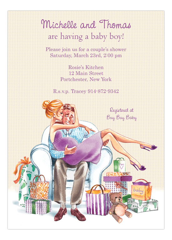 Kisses for Baby Green - Blonde Invitation