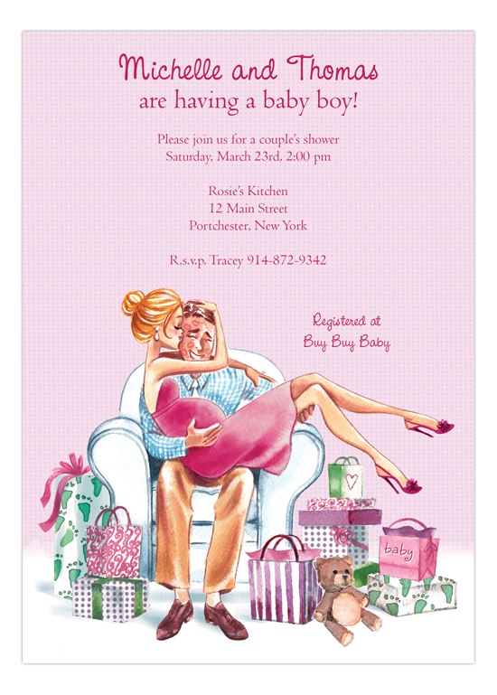 Kisses for Baby Pink - Blonde Girl Baby Shower Invites