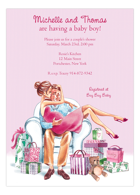 Kisses for Baby Pink - Brunette Invitation