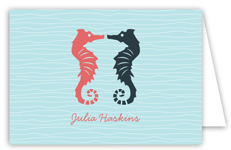 Kissing Seahorses Folded Note Card
