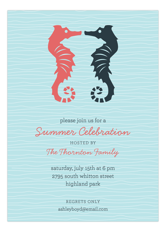 Kissing Seahorses Invitation