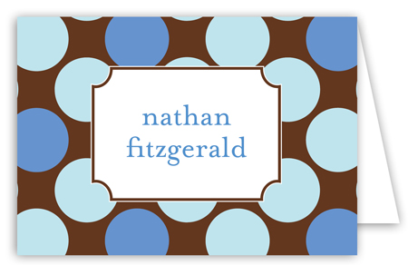 Large Blue Dots Folded Note Card
