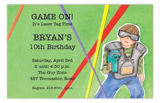 Laser Tag Boy Invitation Polka Dot Kids Birthday Invitations