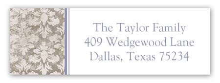 Lavender Damask Cloth Address Label