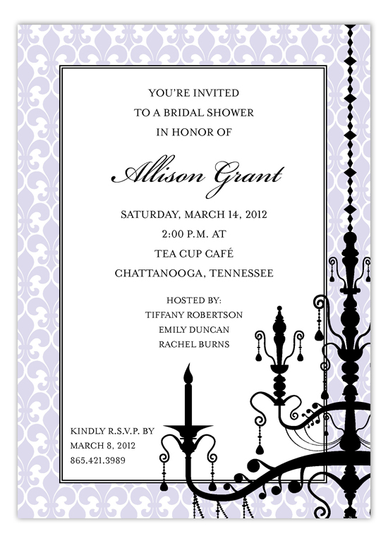 Lavender Hanging Chandelier Invitation