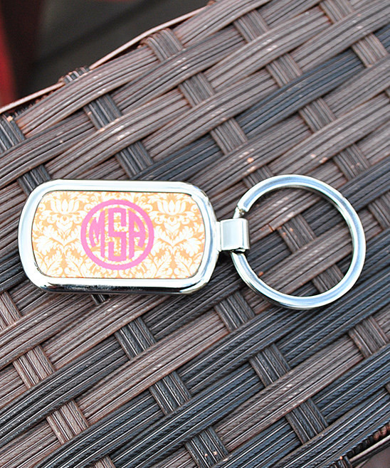 Damask Orange Circle Hot Pink Keychain