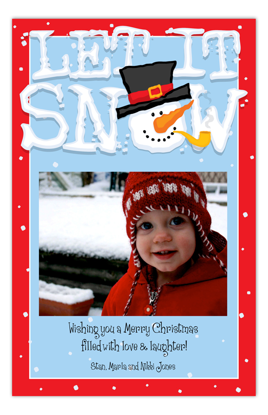 Let it Snow Carrot Snowman Photo Card