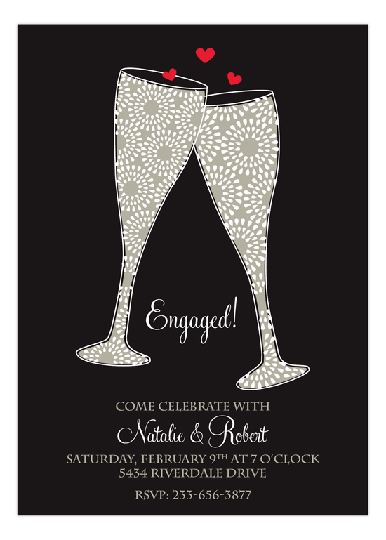 Sparkly Hearts Lets Toast Engagement Invitations