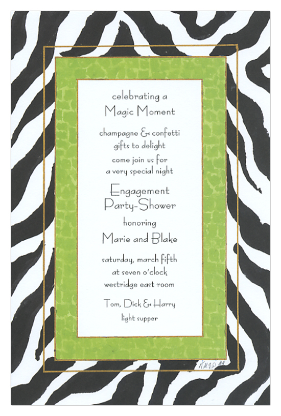 Lime And Black Zebra Print Invitation Engagement Party Shower