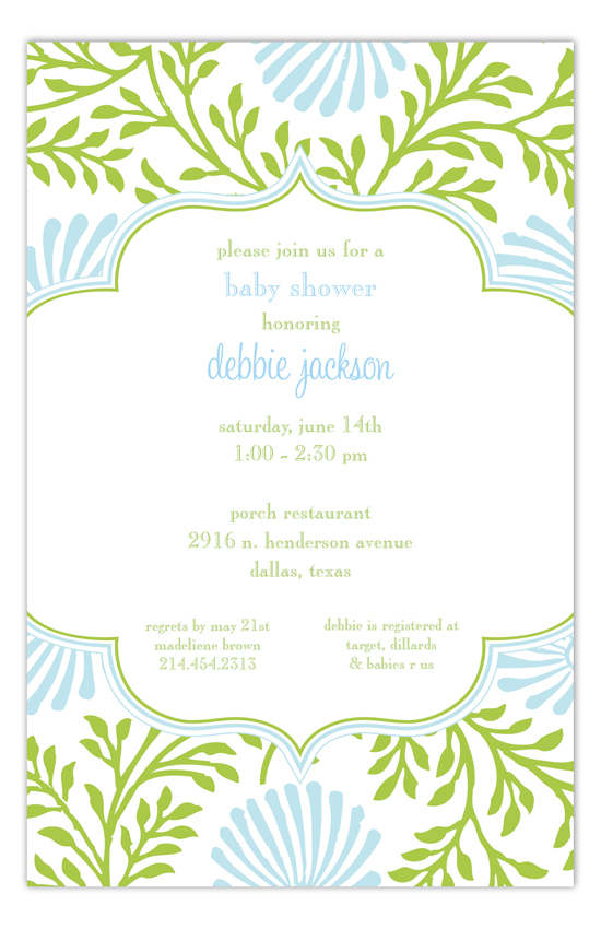 Lime Blue Floral Invitation