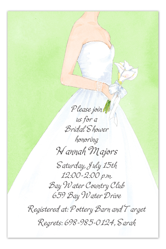 Lime Bride Calla Lily Bridal Shower Invites