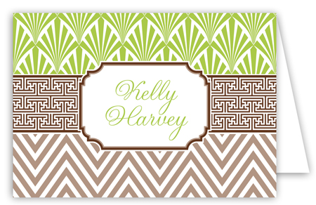 Lime Chocolate Khaki Graphic Duo Folded Note Card