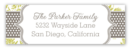 Lime Floral Gray Dotted Stripe Address Label