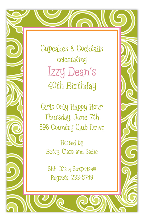Lime Garden Swirls Invitation