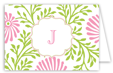 Lime Pink Floral Folded Note Card