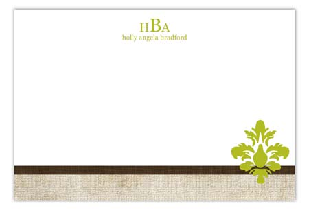 Linen Damask Pop Flat Note Card