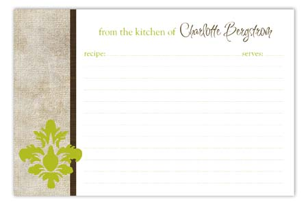 Linen Damask Pop Recipe Card
