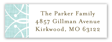 Linen Scrolls Aqua Address Label