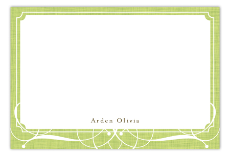 Linen Scrolls Green Flat Note Card