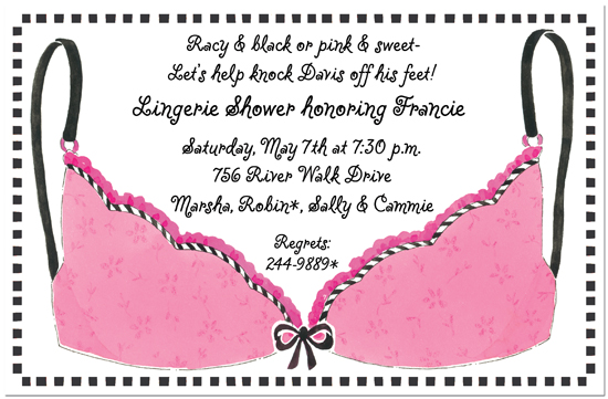 Pink Bra Lingerie Shower Invitations