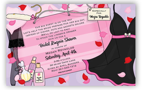 Purple and Pink Girl Lingerie Shower Invitations