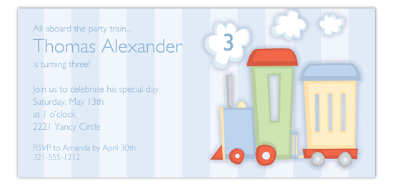 Little Blue Choo Choo Invitation