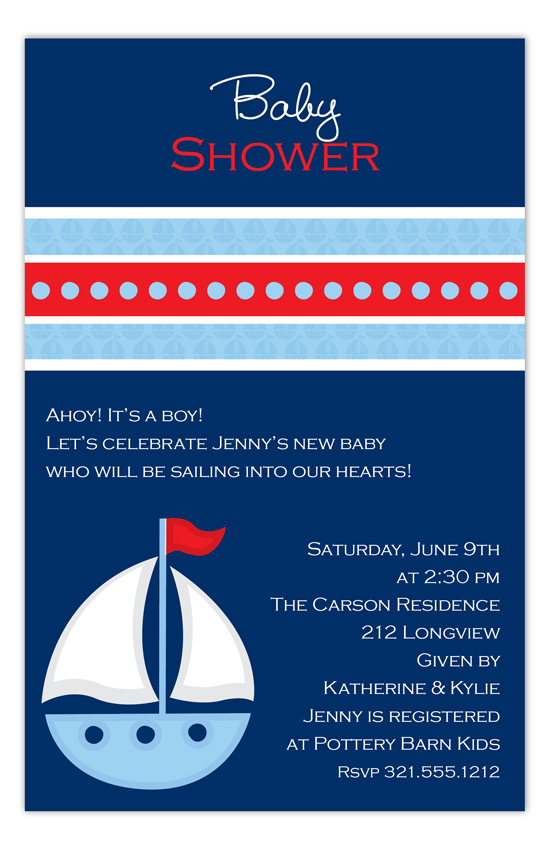 Little Blue Sailboat Invitation