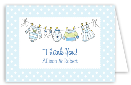 Little Boys Clothes Folded Note Card