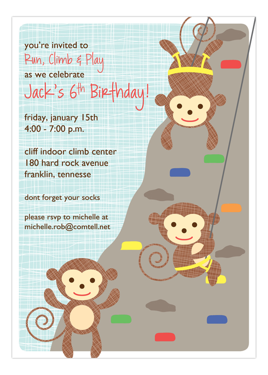Little Monkeys Climbing  Invitation