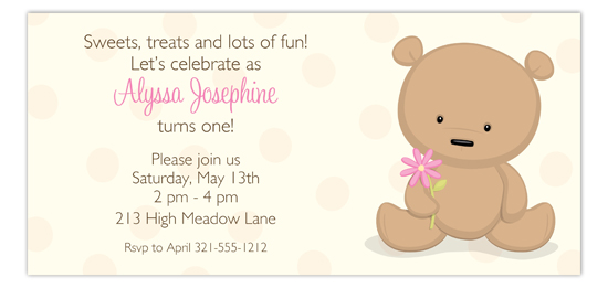 Little Teddy Bear with Flower Invitation